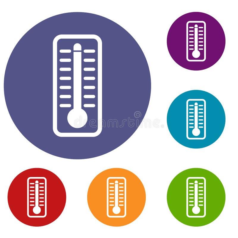 O termômetro indica os ícones de alta temperatura ajustados ilustração stock