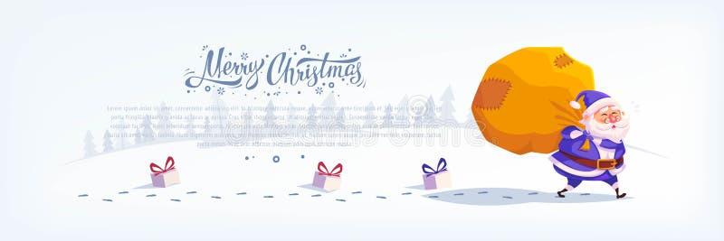 O terno azul Santa Claus dos desenhos animados bonitos que entrega presentes no Feliz Natal grande do saco vector o cartaz do car ilustração royalty free