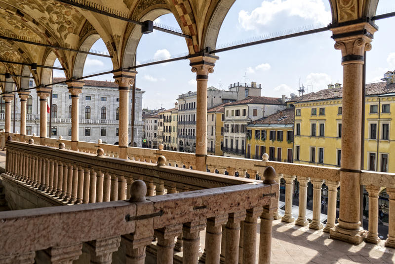 O terraço do centro histórico de Padua imagem de stock