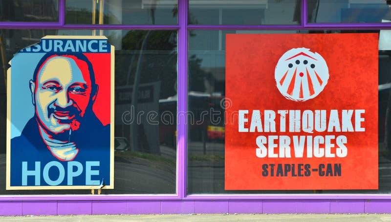 O terremoto presta serviços de manutenção ao escritório em Christchurch Nova Zelândia fotografia de stock