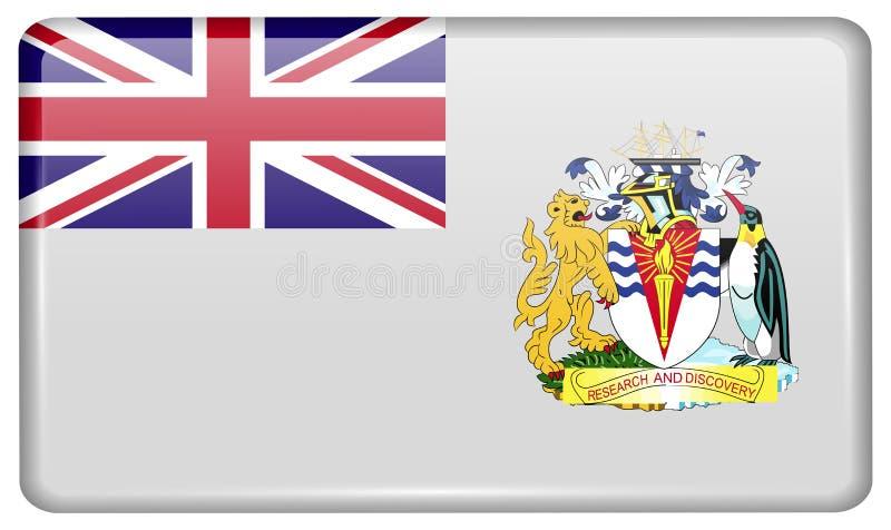 O território antártico britânico das bandeiras sob a forma de um ímã no refrigerador com reflexões ilumina-se ilustração do vetor