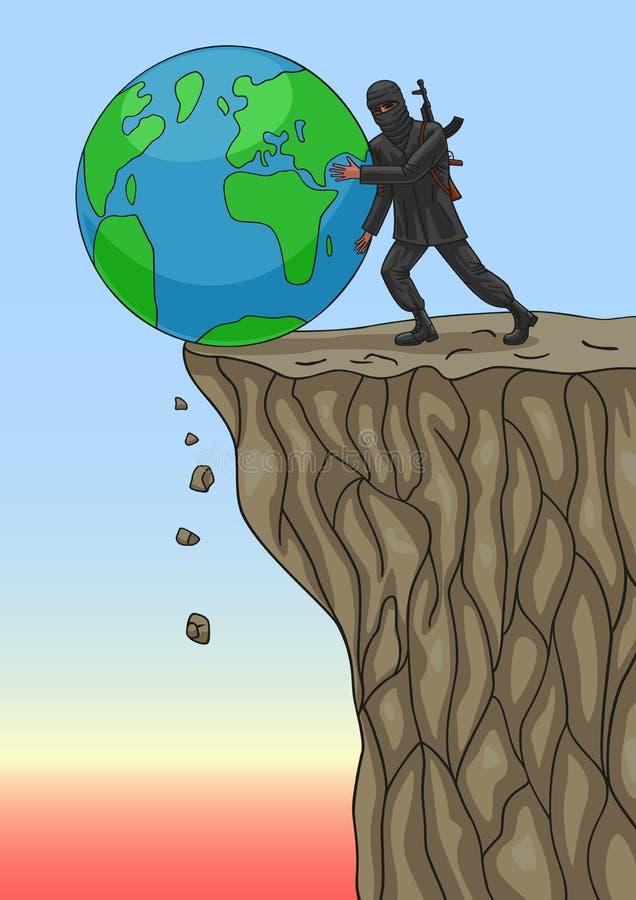 O terrorista destrói o mundo ilustração stock