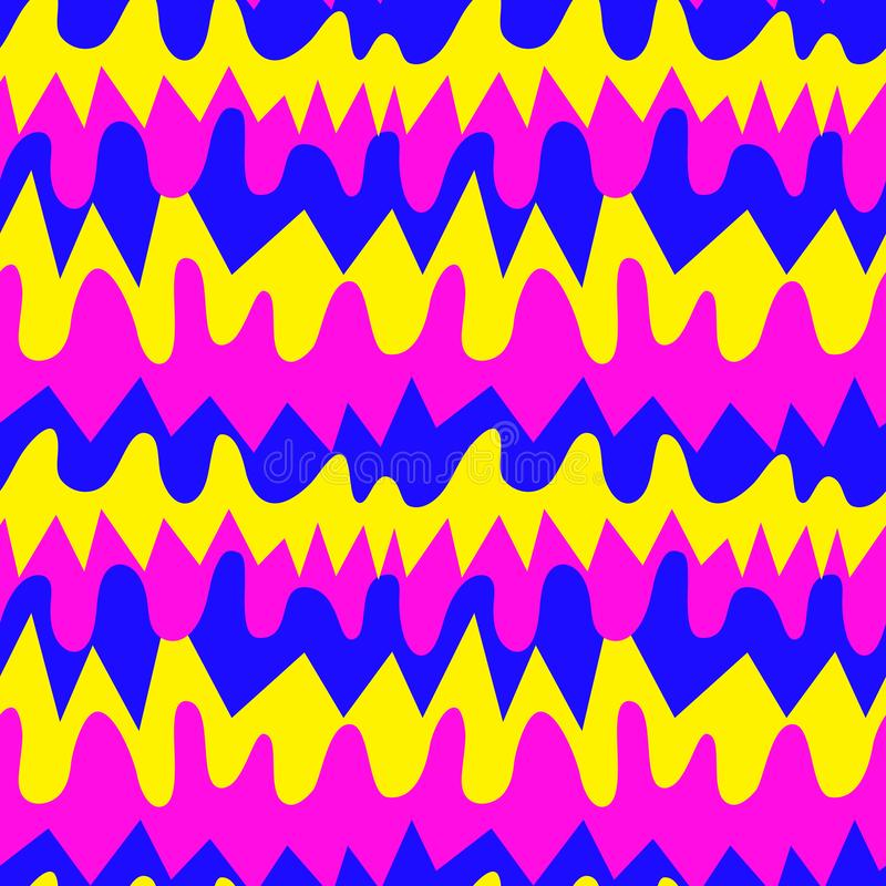 O teste padrão é abstrato, sem emenda, feito das listras de formas e de cores diferentes Para a tela, roupa, papel de envolviment imagens de stock