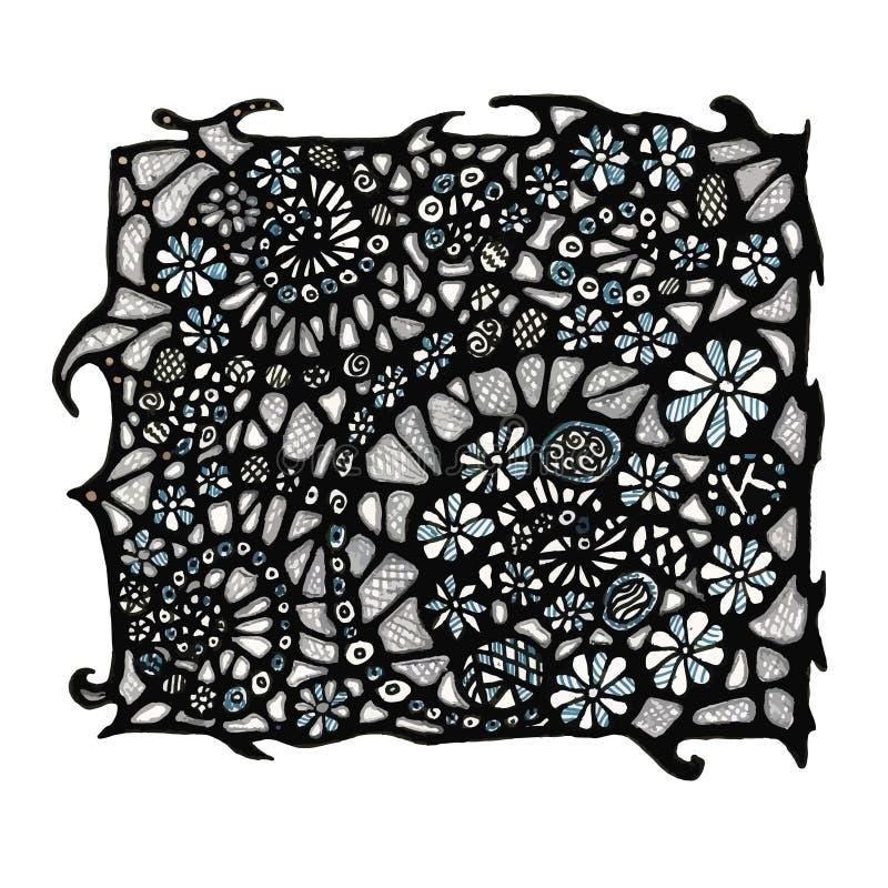O teste padrão é observado Imagem abstrata Flores torcidas em espirais Vetor ilustração royalty free