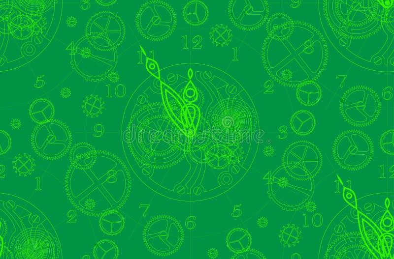 O teste padrão é sem emenda, em tons verdes A estrutura do pulso de disparo com um mecanismo, as setas, os números e os detalhes ilustração stock