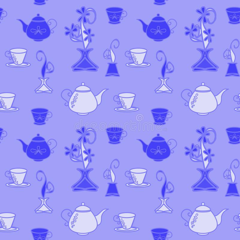 O teste padrão é sem emenda, monocromático, azul das chaleiras e dos copos para a cozinha ilustração royalty free