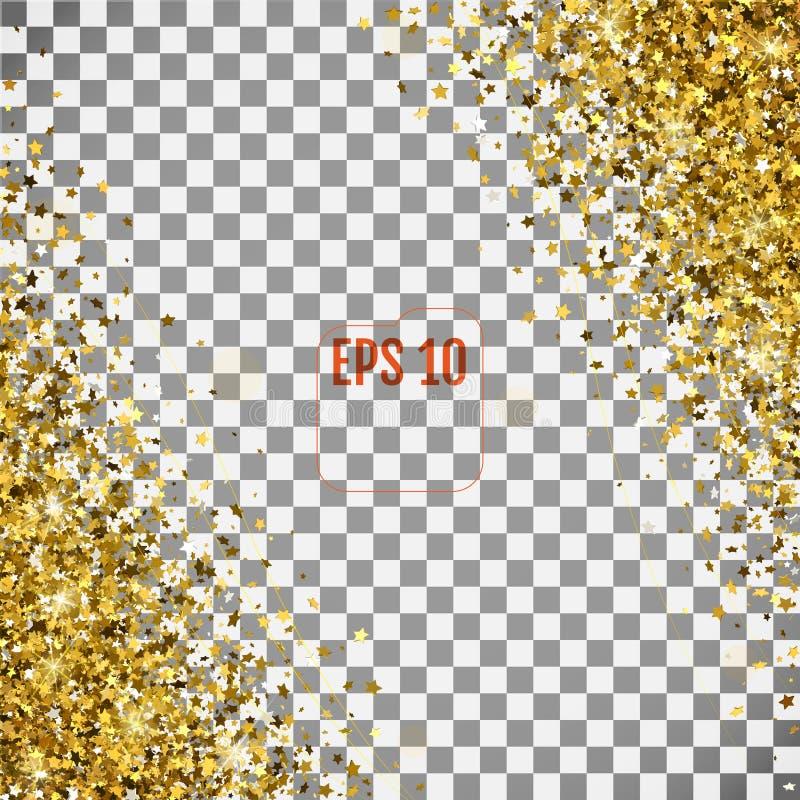 O teste padrão abstrato das estrelas 3d douradas de queda aleatórias transparen sobre ilustração do vetor