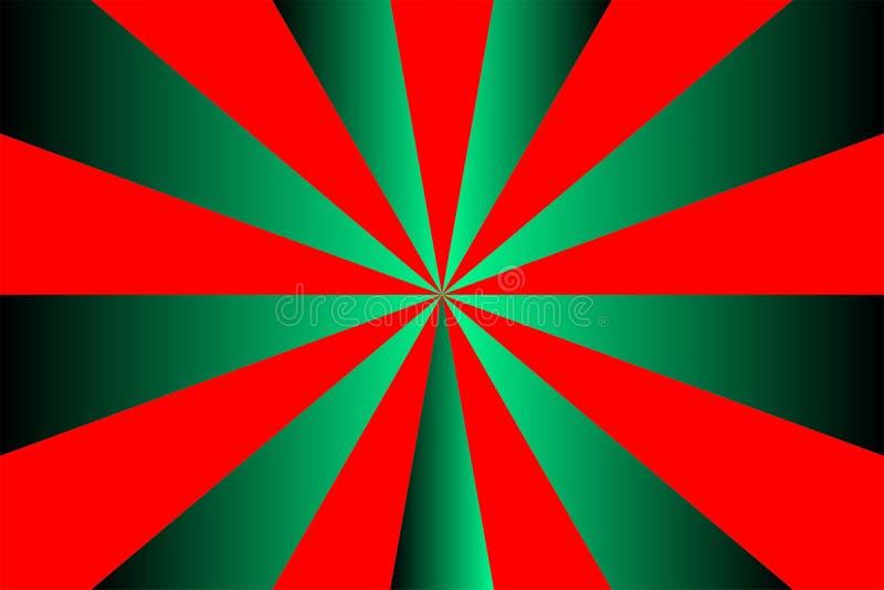 O teste padrão abstrato do sunburst, raios vermelhos no inclinação esverdeia o fundo, tema do Feliz Natal Vector a ilustração, EP ilustração stock