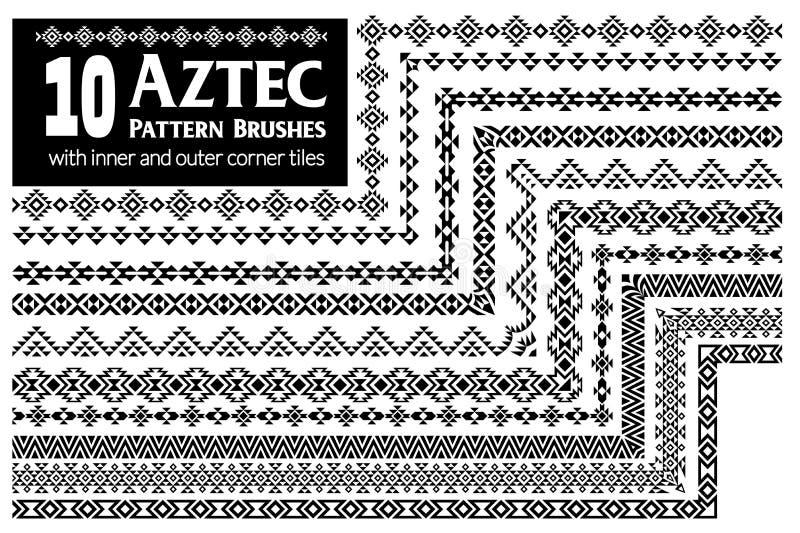 O teste padrão asteca escova a coleção ilustração royalty free