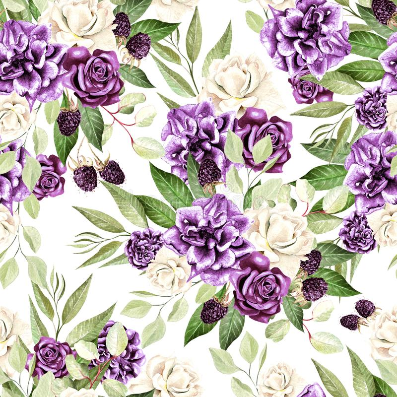 O teste padrão bonito da aquarela com flores aumentou e a amora-preta, eucalipto sae ilustração do vetor