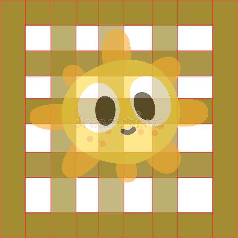 O teste padrão bonito dos desenhos animados dos desenhos animados do sol ilustração do vetor