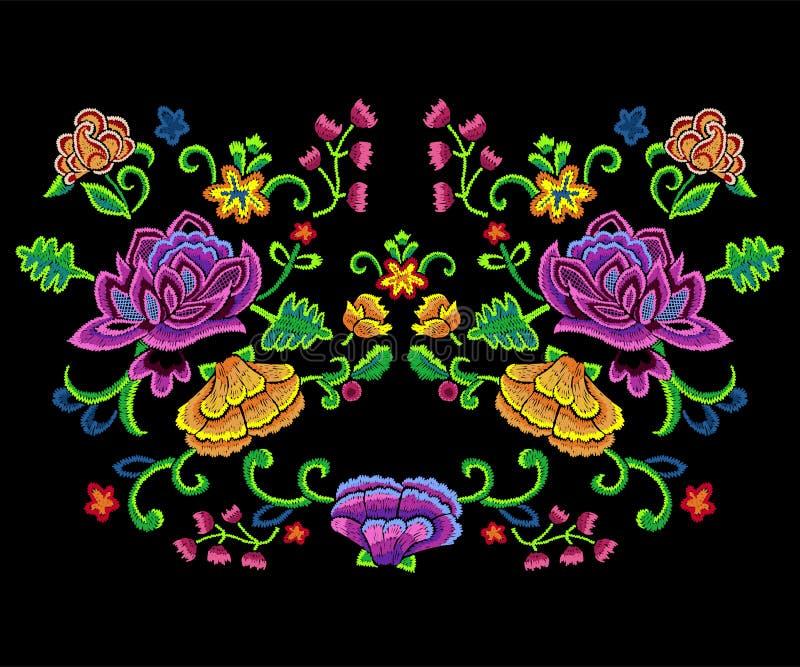 O teste padrão botânico da tendência do bordado com colorido simplifica flores ilustração do vetor