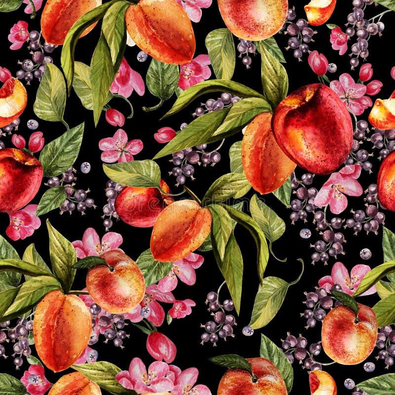 O teste padrão brilhante da aquarela com flores, corinto e pêssego frutifica fotografia de stock