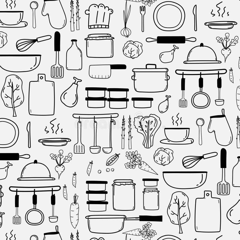 O teste padrão com linha vetor tirado mão da garatuja que cozinha o grupo inclui o cozimento do equipamento ilustração stock