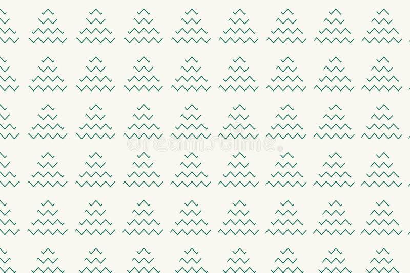 O teste padrão da árvore de Natal com ziguezague verde e o triângulo dão forma ilustração stock