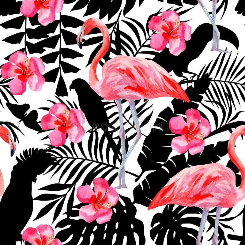 o teste padrão da aquarela do flamingo e do hibiscus, os papagaios e as plantas tropicais mostram em silhueta o fundo ilustração stock