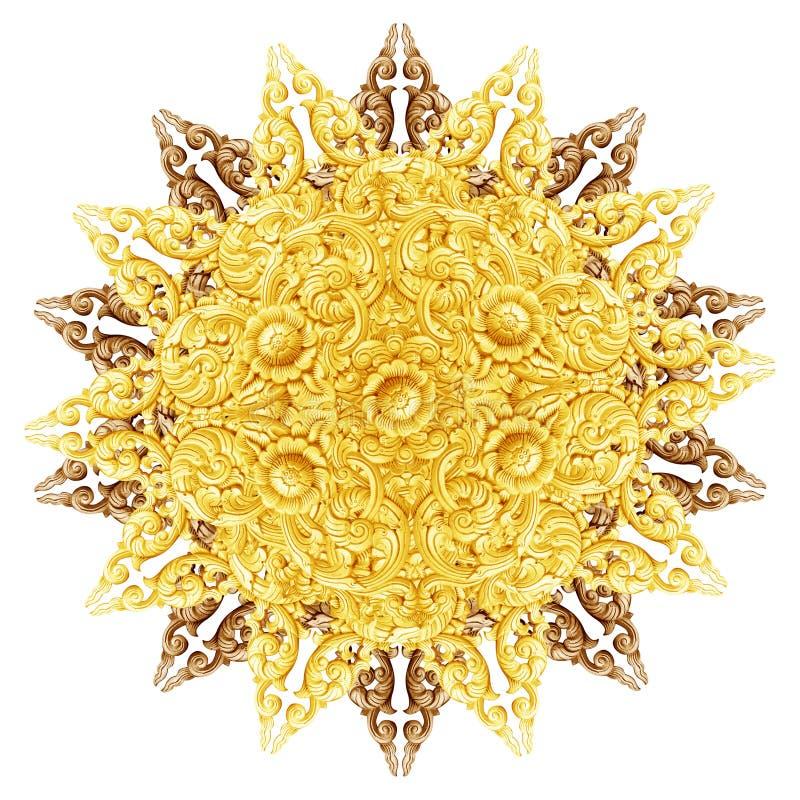 O teste padrão da flor cinzelou na madeira para a decoração imagem de stock royalty free