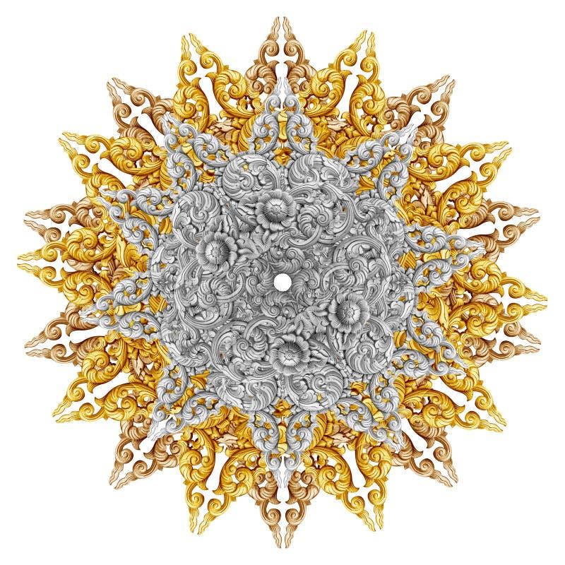 O teste padrão da flor cinzelou na madeira para a decoração fotos de stock royalty free