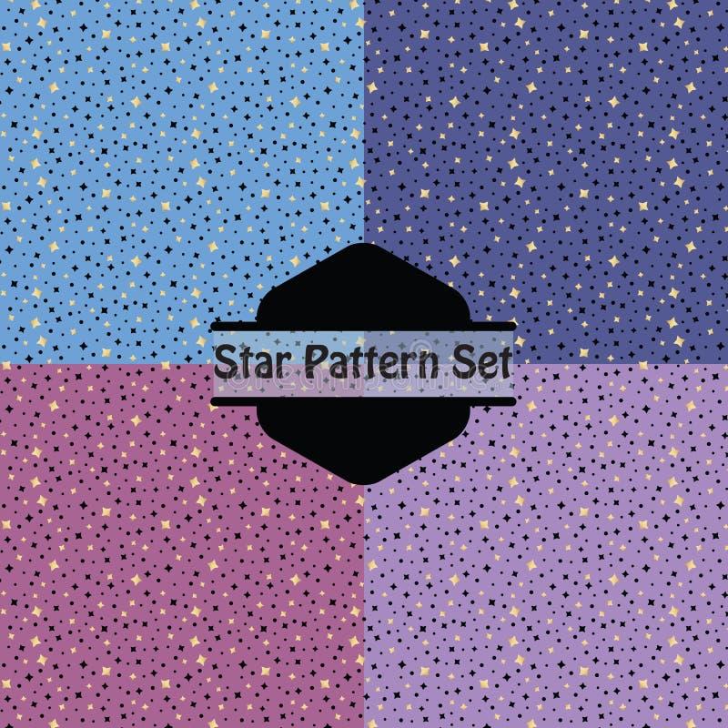 O teste padrão de estrelas dourado bonito ajustou-se no rosa, no roxo e no azul ilustração stock