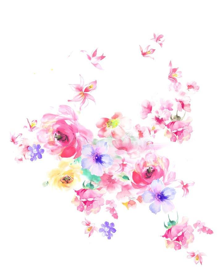 O teste padrão de flor, flores pintados à mão, aquarela floresce imagens de stock