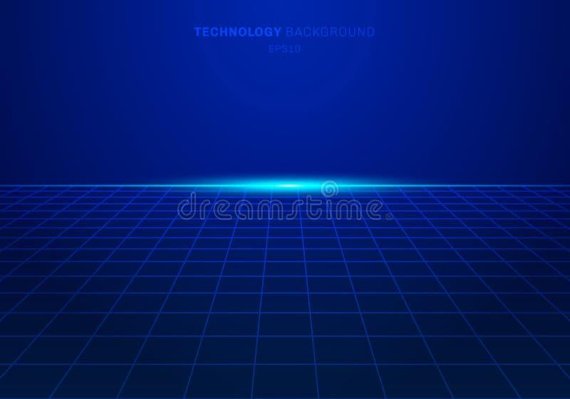 O teste padrão de grade azul do quadrado da tecnologia digital do sumário no fundo com luz explode ilustração do vetor
