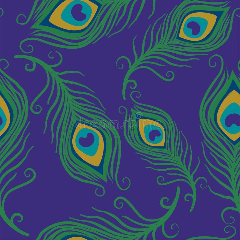 O teste padrão de superfície sem emenda da pena do pavão, penas do pavão repete o teste padrão para o projeto de matéria têxtil,  ilustração royalty free