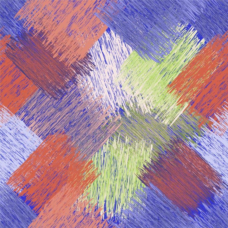 O teste padrão diagonal sem emenda com grunge listrou elementos quadrados em cores azuis, verdes, marrons, bege ilustração stock