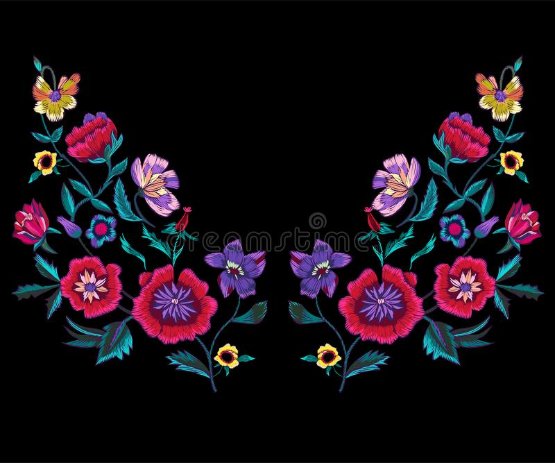 O teste padrão do decote do bordado com papoilas e prado floresce ilustração stock