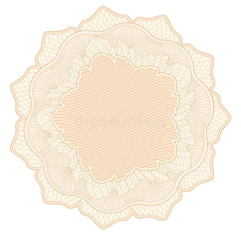 O teste padrão do Guilloche, filigrana, linha elementos da roseta para o dinheiro projeta, ilustração do vetor