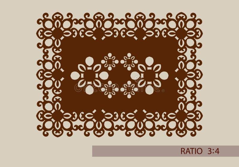 O teste padrão do molde para o laser que corta o painel decorativo ilustração royalty free