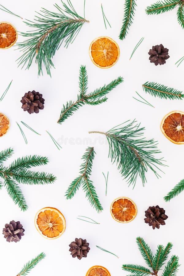 O teste padrão do Natal do ano novo coloca horizontalmente a textura feito a mão do artesanato do feriado do Xmas da vista superi imagem de stock