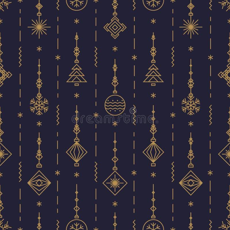 O teste padrão do Natal com anos novos brinca - a bola, floco de neve, linha estilo do art deco da árvore no preto ilustração royalty free