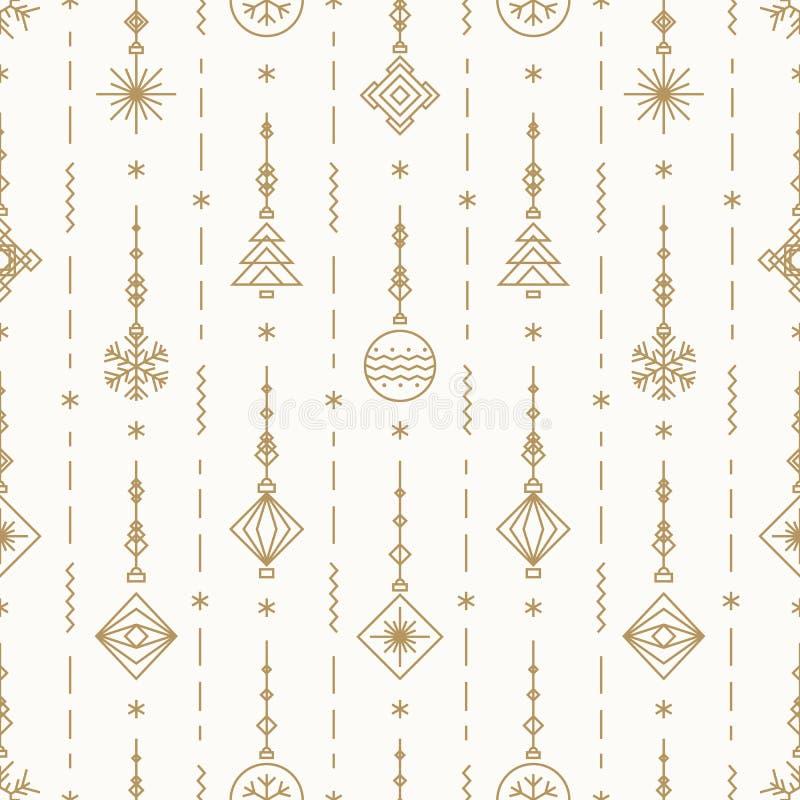 O teste padrão do Natal com anos novos brinca a cor do ouro que consiste na árvore do xmas, bola, floco de neve ilustração do vetor