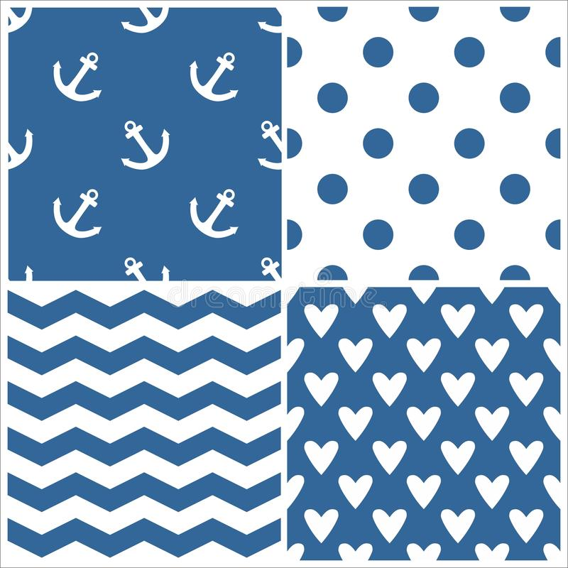 O teste padrão do vetor do marinheiro da telha ajustou-se com às bolinhas, listras do ziguezague e corações no fundo azul ilustração do vetor