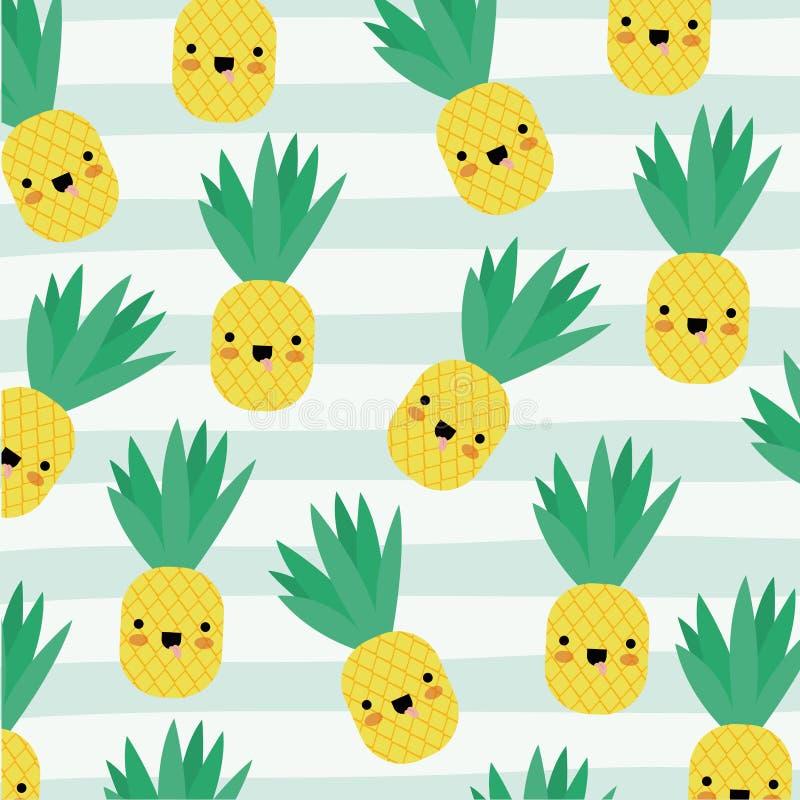 O teste padrão dos frutos do kawaii do abacaxi ajustou-se em linhas decorativas fundo da cor ilustração royalty free