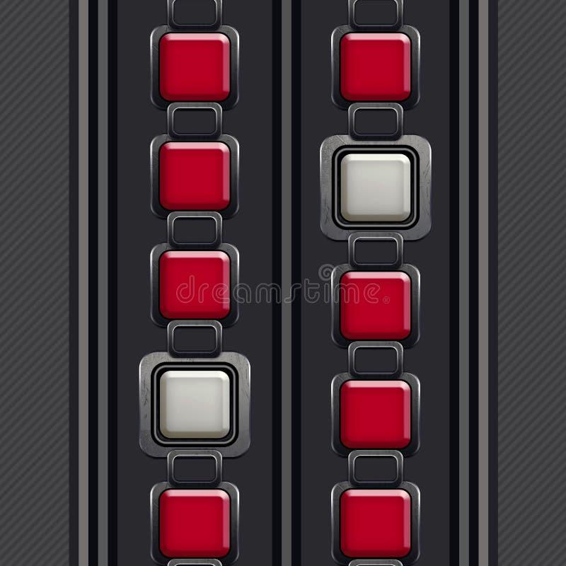 O teste padr?o elegante, decorativo, quadrados de prata em vermelho e em branco, listrou Grey Background ilustração stock