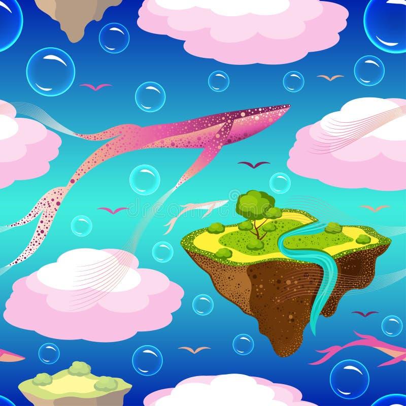 O teste padrão fantástico das crianças Ilhas de voo e baleias cor-de-rosa As ilhas, baleias, pássaros, bolhas voam ou flutuam no  ilustração royalty free