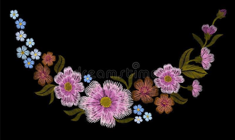 O teste padrão floral colorido do bordado com rosas de cão e esquece-me não flores Ornamento popular tradicional da forma do veto ilustração do vetor