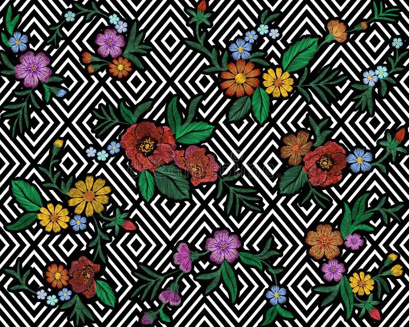 O teste padrão floral colorido do bordado com rosas de cão e esquece-me não flores Ornamento popular tradicional da forma do veto ilustração stock