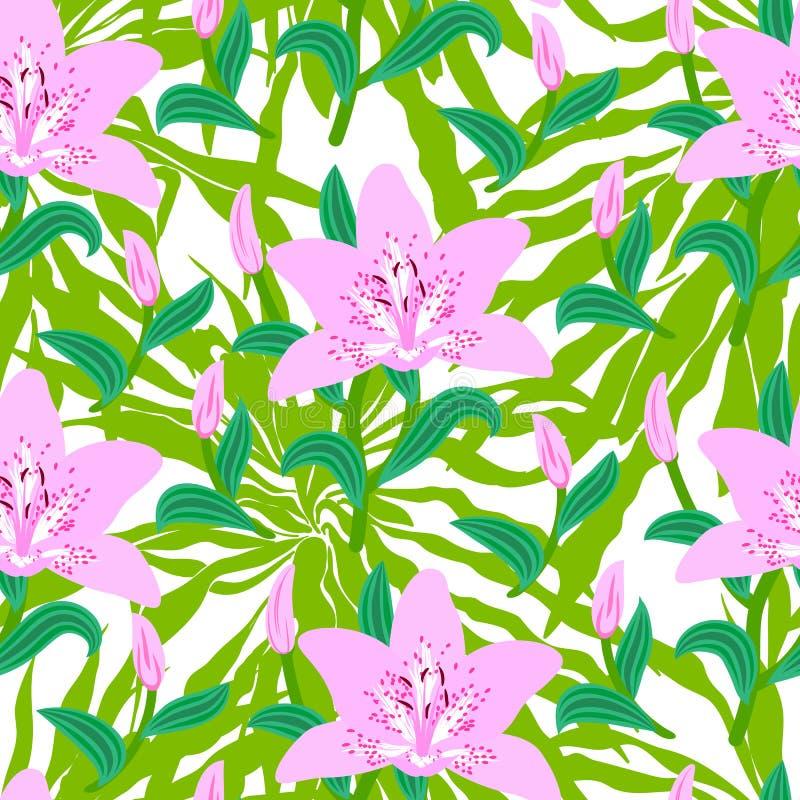 O teste padrão floral com o lírio cor-de-rosa grande tropical floresce ilustração do vetor