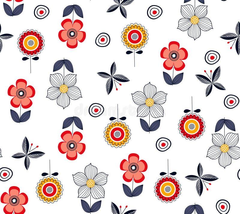O teste padrão floral elegante com borboletas e as margaridas florescem fotografia de stock