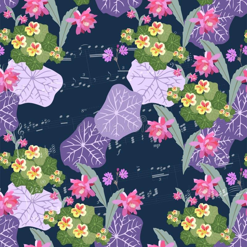 O teste padrão floral fantástico sem emenda bonito com epiphyllum, prímula e chagas floresce, as folhas do lilás e notas musicais ilustração royalty free