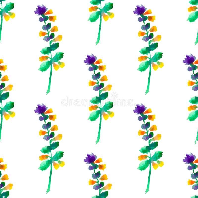 O teste padrão floral sem emenda com aquarela floresce no estilo do vintage ilustração do vetor