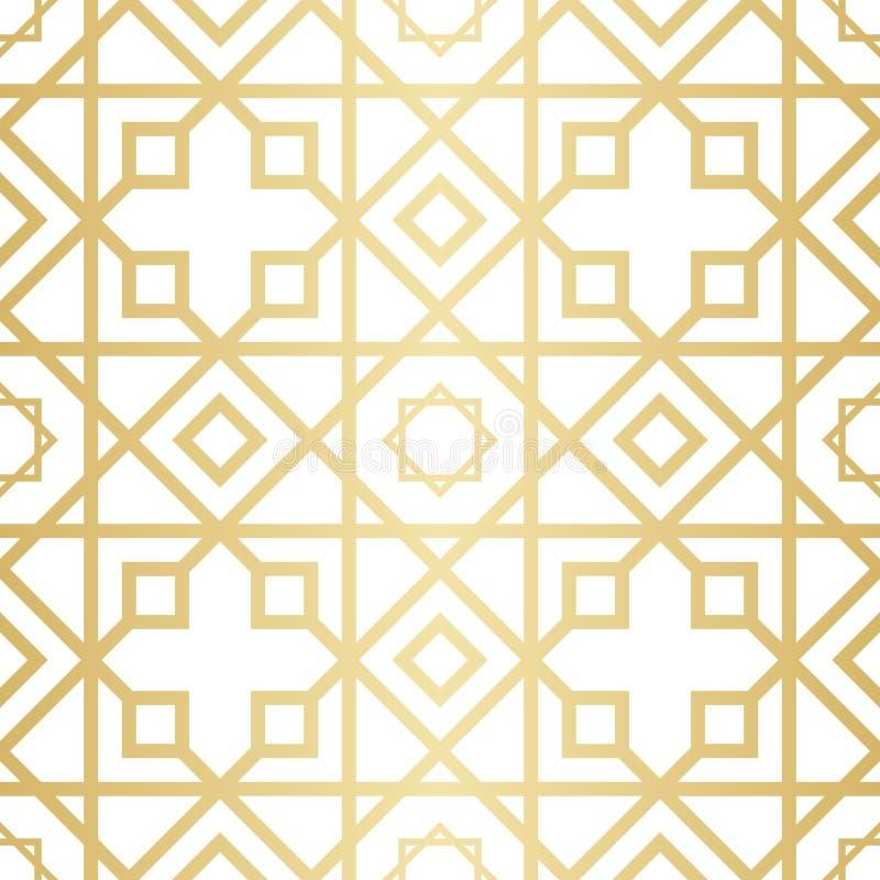 O teste padrão geométrico abstrato dourado com rombo, os triângulos e os quadrados vector a ilustração ilustração stock