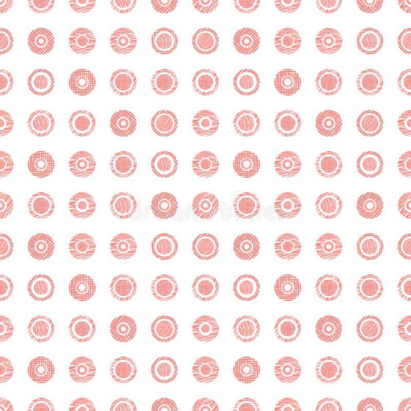 O teste padrão geométrico do vetor sem emenda com fundo infinito pastel dos círculos com a mão tirada textured figuras geométrica ilustração stock