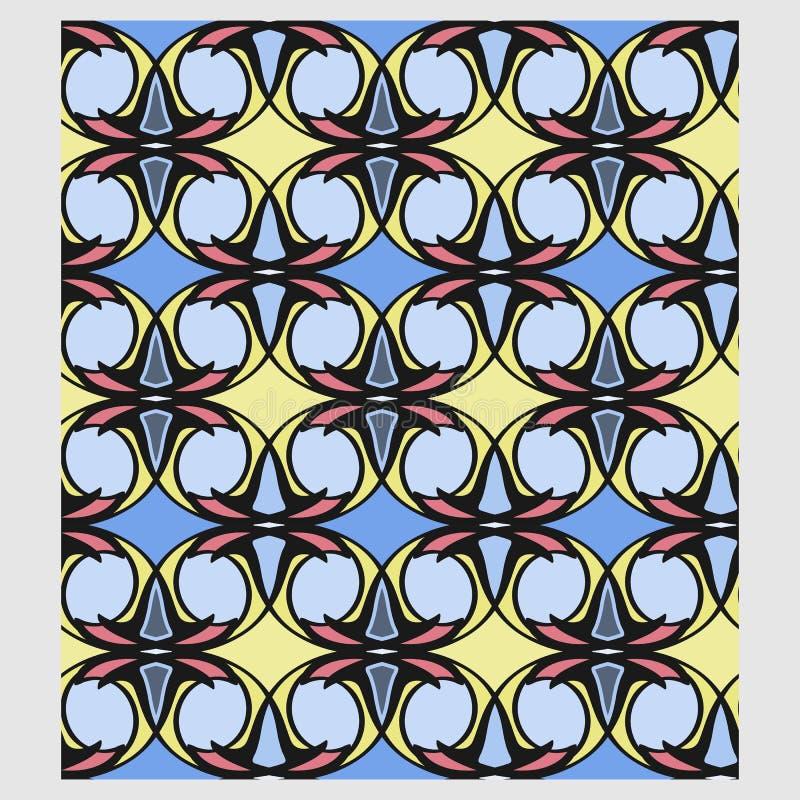 O teste padrão geométrico floral abstrato de Netrivail, fundo, vector sem emenda ilustração do vetor