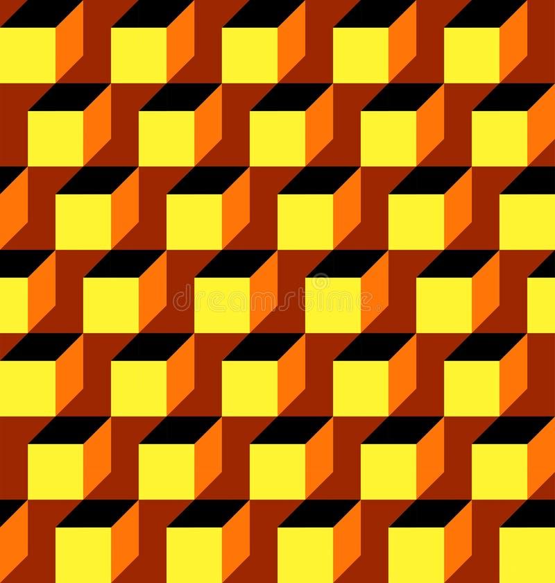O teste padrão geométrico sem emenda 3D que olha o fundo abstrato do vetor projeta com quadrados e os diamantes coloridos dos cub ilustração royalty free