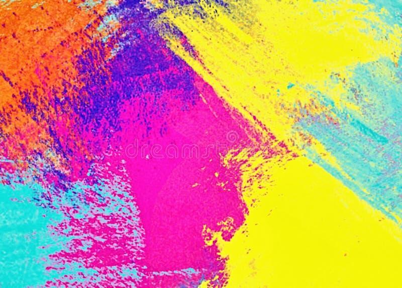 O teste padrão gráfico do fundo colorido abstrato, a decoração com etiquetas do molde da arte e própria escovam cursos largos da  ilustração stock