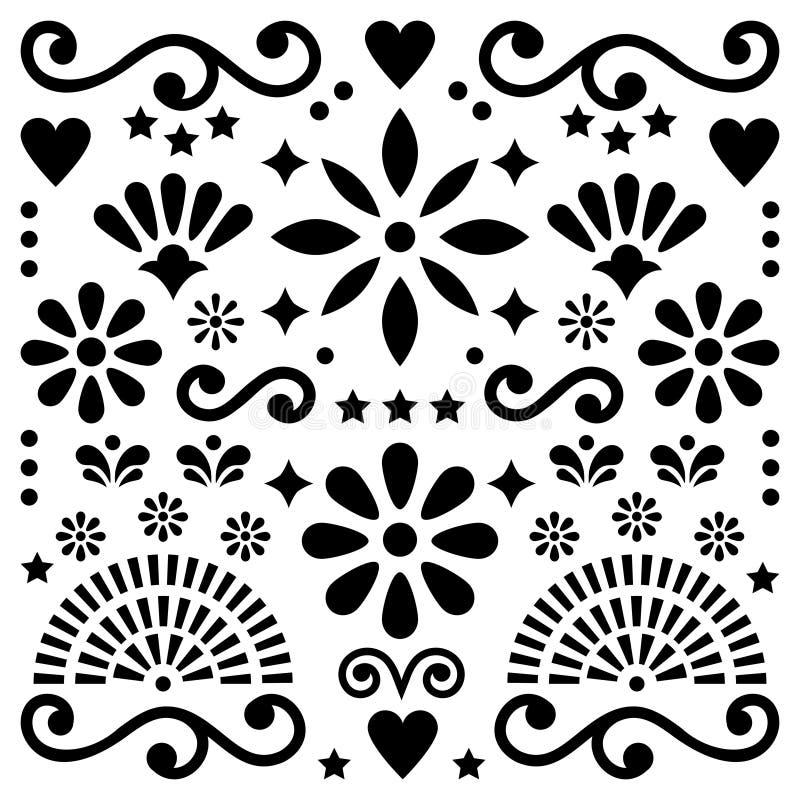 O teste padrão mexicano do vetor da arte popular, projeto preto e branco com cartão das flores inspirou por projetos tradicionais ilustração stock