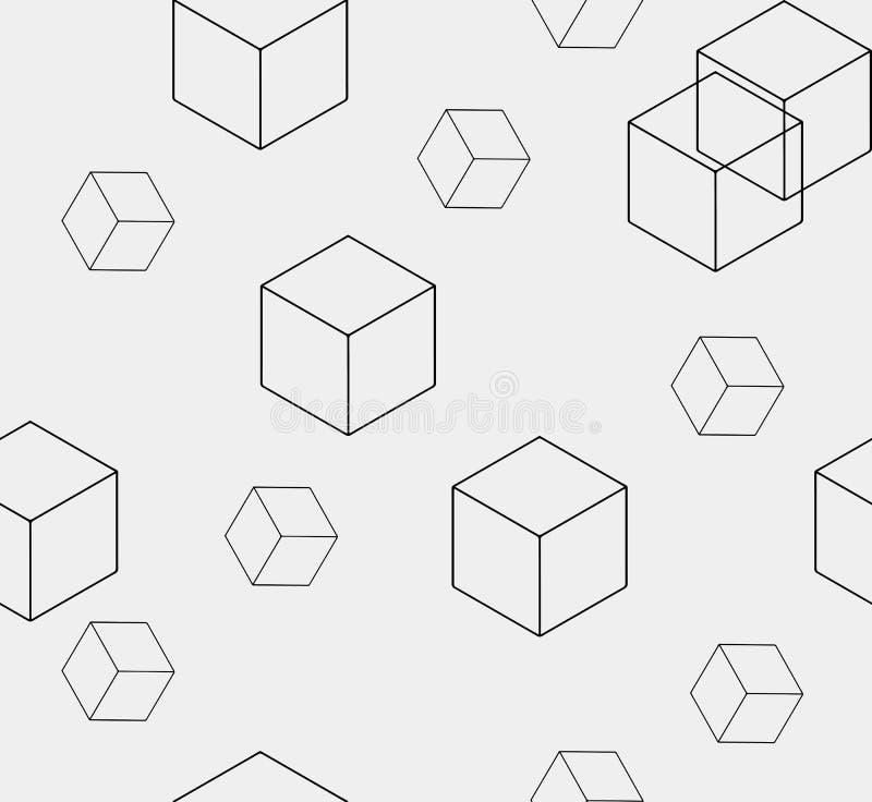 O teste padrão minimalistic monocromático simples sem emenda geométrico do cubo dá forma ilustração do vetor